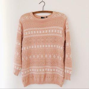 Vintage 80's/90's oversized chunky peach sweater S